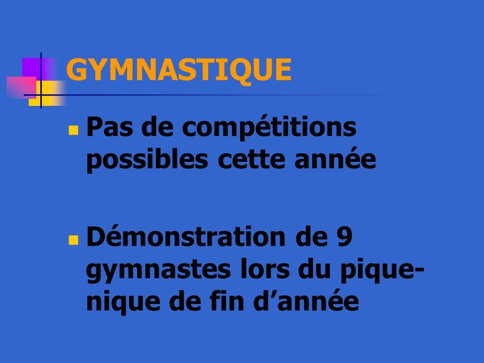 GYMNASTIQUE Pas de compétitions possibles cette année Démonstration de 9 gymnastes lors du pique- nique de fin d'année