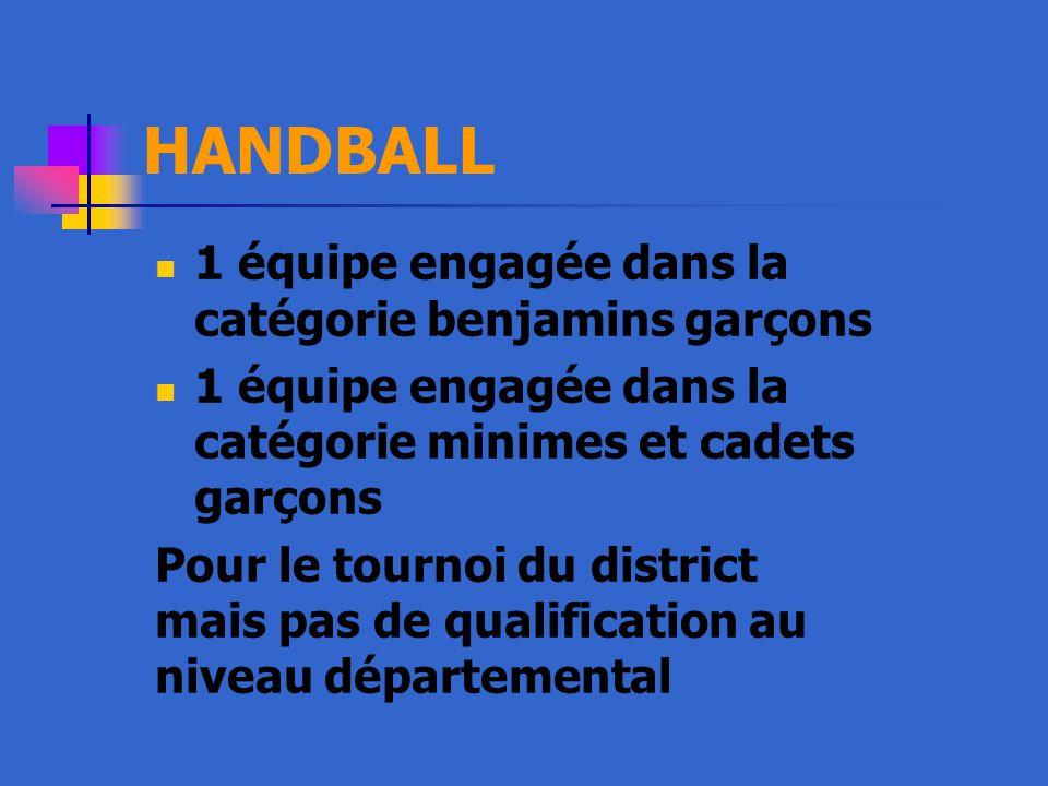 HANDBALL 1 équipe engagée dans la catégorie benjamins garçons 1 équipe engagée dans la catégorie minimes et cadets garçons Pour le tournoi du district mais pas de qualification au niveau départemental