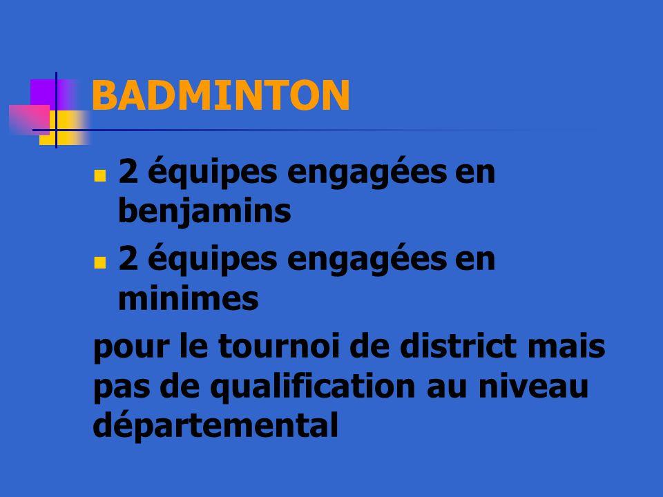 BADMINTON 2 équipes engagées en benjamins 2 équipes engagées en minimes pour le tournoi de district mais pas de qualification au niveau départemental