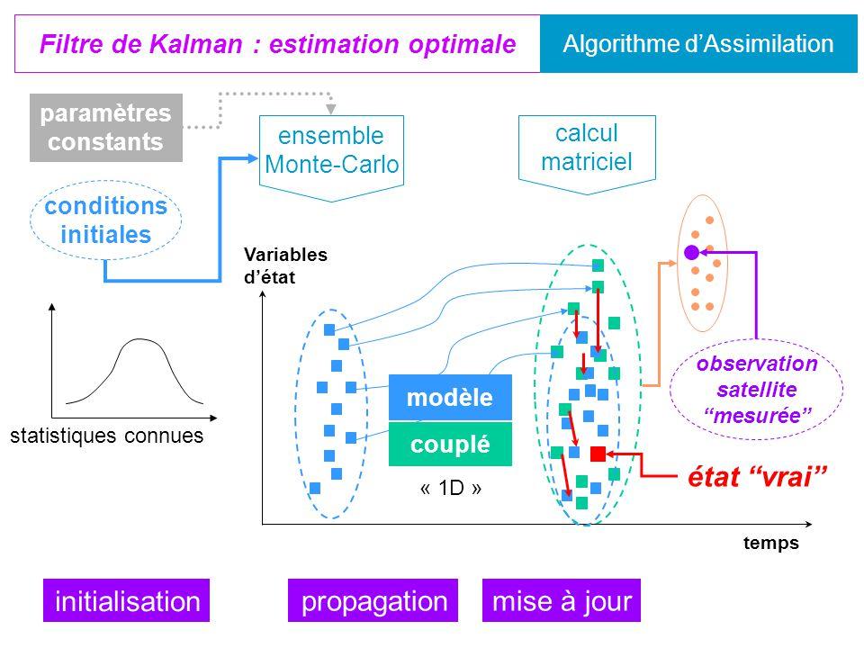 couplé modèle « 1D » propagation Filtre de Kalman : estimation optimale Algorithme d'Assimilation ensemble Monte-Carlo conditions initiales paramètres constants initialisation statistiques connues temps Variables d'état calcul matriciel mise à jour observation satellite mesurée état vrai