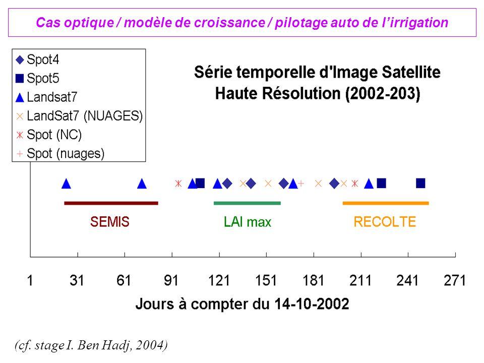 Cas optique / modèle de croissance / pilotage auto de l'irrigation (cf. stage I. Ben Hadj, 2004)