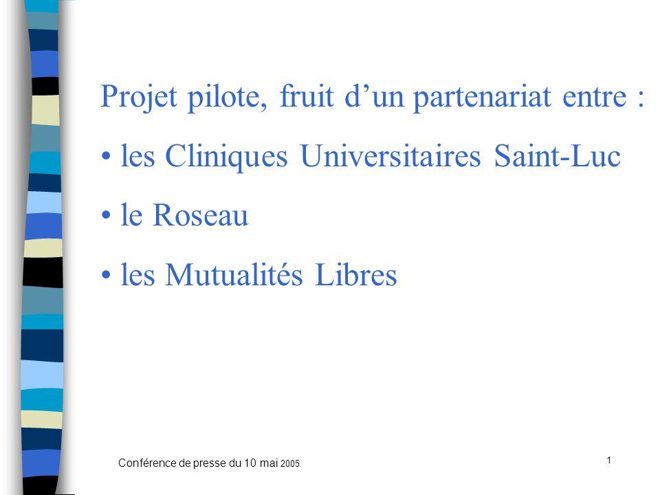 1 Conférence de presse du 10 mai 2005 Projet pilote, fruit d'un partenariat entre : les Cliniques Universitaires Saint-Luc le Roseau les Mutualités Libres