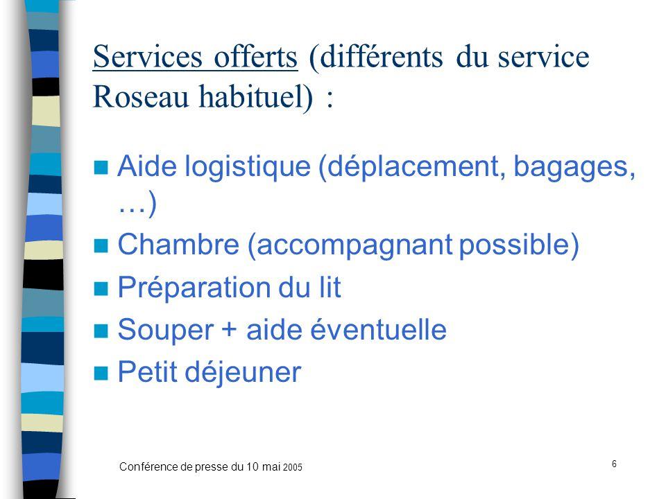 6 Conférence de presse du 10 mai 2005 Services offerts (différents du service Roseau habituel) : Aide logistique (déplacement, bagages, …) Chambre (accompagnant possible) Préparation du lit Souper + aide éventuelle Petit déjeuner