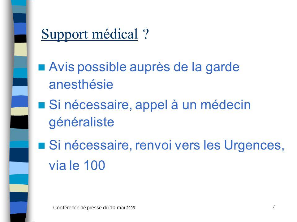 7 Conférence de presse du 10 mai 2005 Support médical .