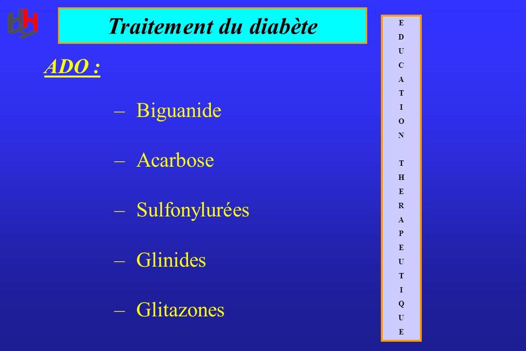 ADO : – Biguanide – Acarbose – Sulfonylurées – Glinides – Glitazones Traitement du diabète EDUCATIONTHERAPEUTIQUEEDUCATIONTHERAPEUTIQUE