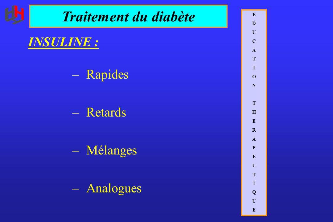 INSULINE : – Rapides – Retards – Mélanges – Analogues EDUCATIONTHERAPEUTIQUEEDUCATIONTHERAPEUTIQUE