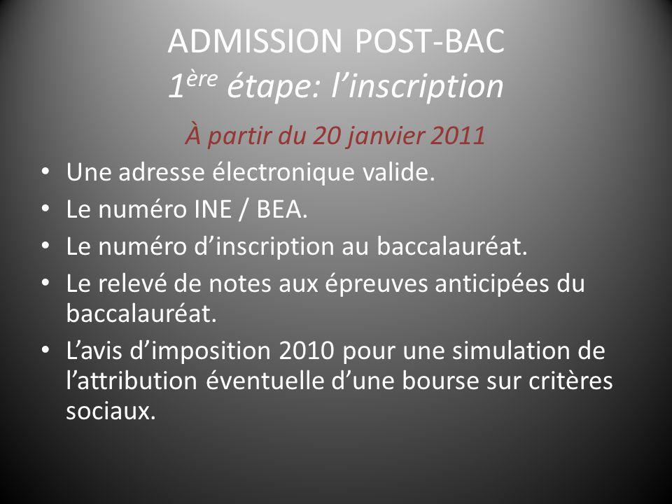 ADMISSION POST-BAC 1 ère étape: l'inscription À partir du 20 janvier 2011 Une adresse électronique valide.