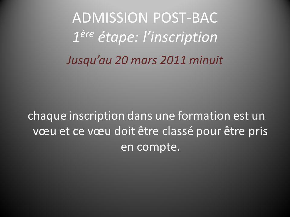 ADMISSION POST-BAC 1 ère étape: l'inscription Jusqu'au 20 mars 2011 minuit chaque inscription dans une formation est un vœu et ce vœu doit être classé pour être pris en compte.