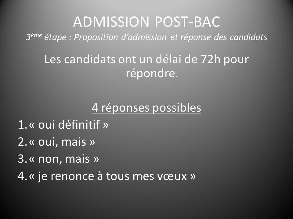 ADMISSION POST-BAC 3 ème étape : Proposition d'admission et réponse des candidats Les candidats ont un délai de 72h pour répondre.