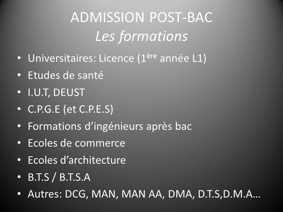 ADMISSION POST-BAC Les formations Universitaires: Licence (1 ère année L1) Etudes de santé I.U.T, DEUST C.P.G.E (et C.P.E.S) Formations d'ingénieurs après bac Ecoles de commerce Ecoles d'architecture B.T.S / B.T.S.A Autres: DCG, MAN, MAN AA, DMA, D.T.S,D.M.A…