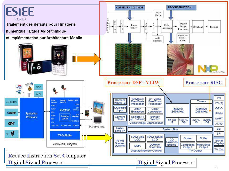 4 Processeur DSP - VLIWProcesseur RISC Reduce Instruction Set Computer Digital Signal Processor T Traitement des défauts pour l'Imagerie numérique : É
