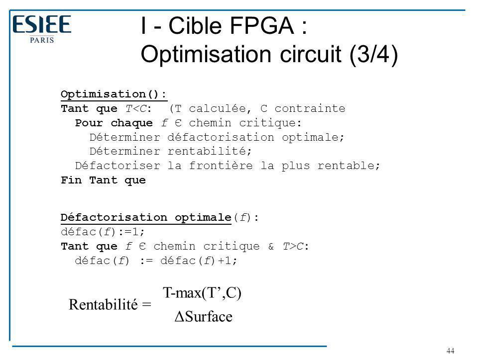 44 I - Cible FPGA : Optimisation circuit (3/4) Optimisation(): Tant que T<C: (T calculée, C contrainte Pour chaque f Є chemin critique: Déterminer déf