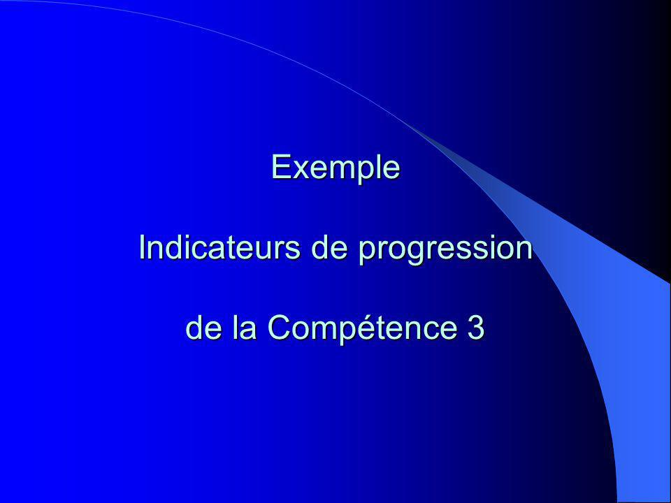 Exemple Indicateurs de progression de la Compétence 3