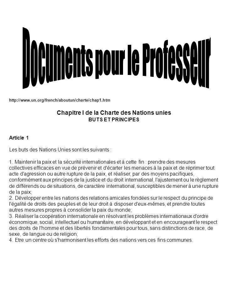 http://www.un.org/french/aboutun/charte/chap1.htm Chapitre I de la Charte des Nations unies BUTS ET PRINCIPES Article 1 Les buts des Nations Unies son
