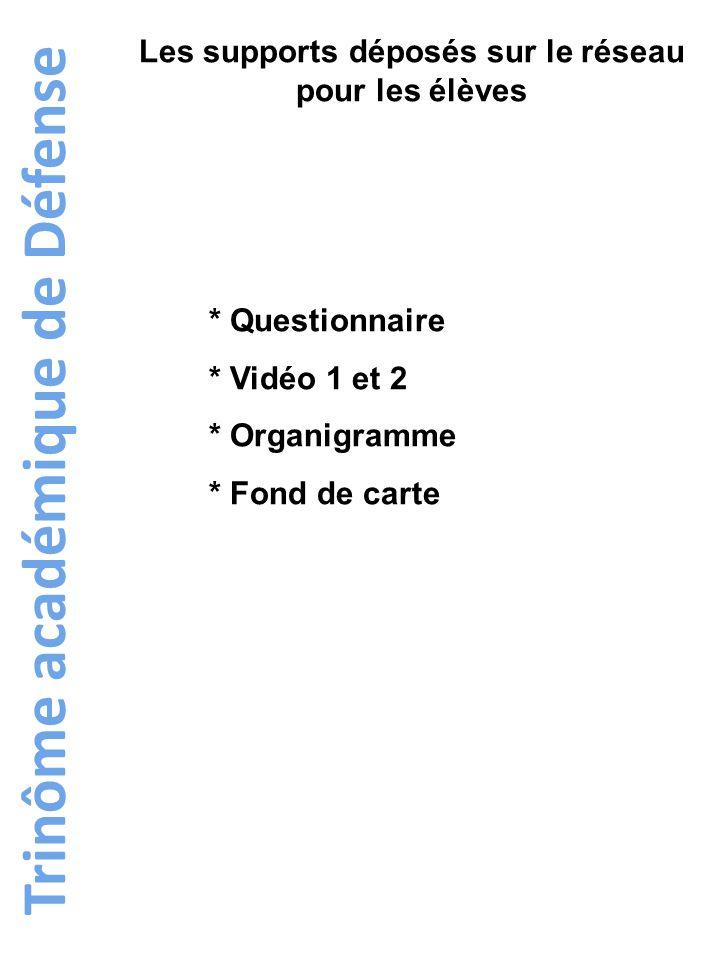 Trinôme académique de Défense Les supports déposés sur le réseau pour les élèves * Questionnaire * Vidéo 1 et 2 * Organigramme * Fond de carte