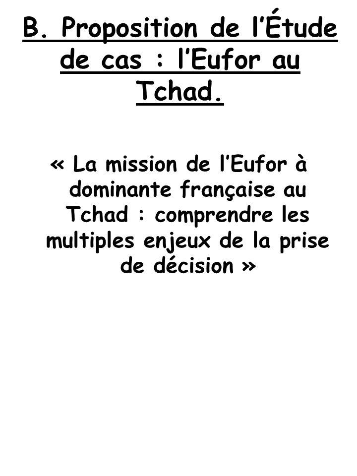 B.Proposition de l'Étude de cas : l'Eufor au Tchad.
