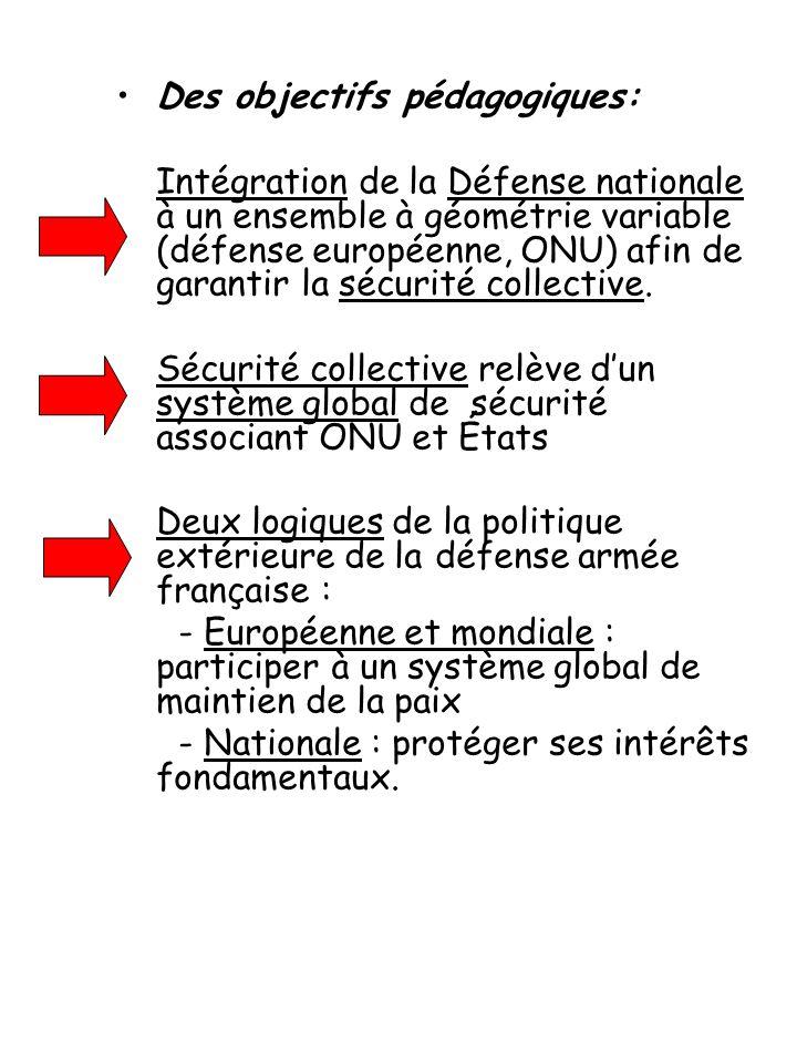 Des objectifs pédagogiques: Intégration de la Défense nationale à un ensemble à géométrie variable (défense européenne, ONU) afin de garantir la sécurité collective.