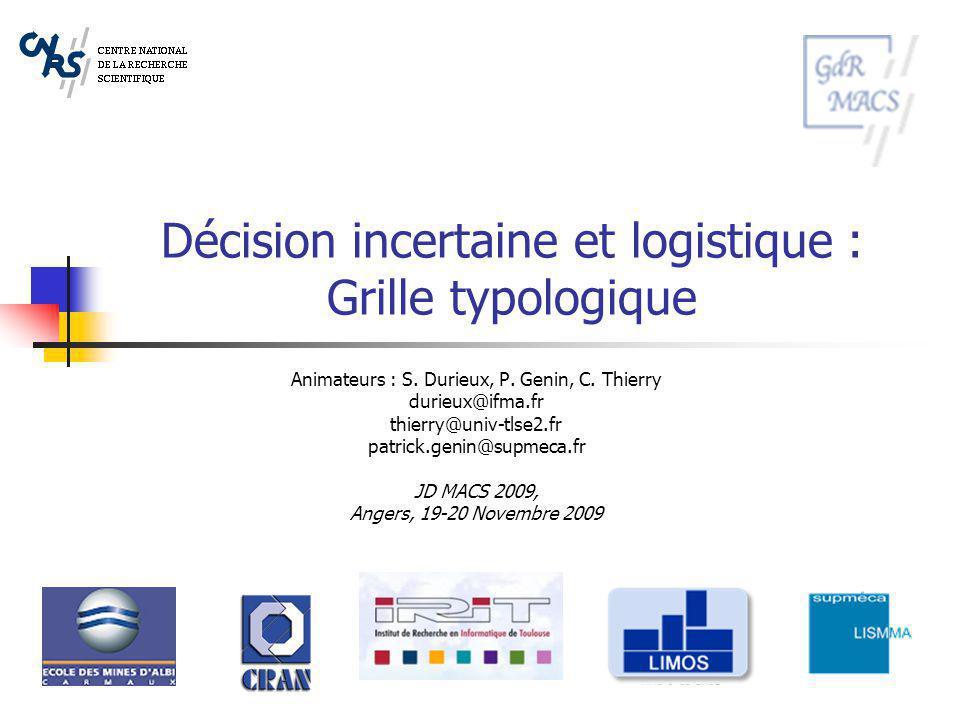 Décision incertaine et logistique : Grille typologique Animateurs : S. Durieux, P. Genin, C. Thierry durieux@ifma.fr thierry@univ-tlse2.fr patrick.gen