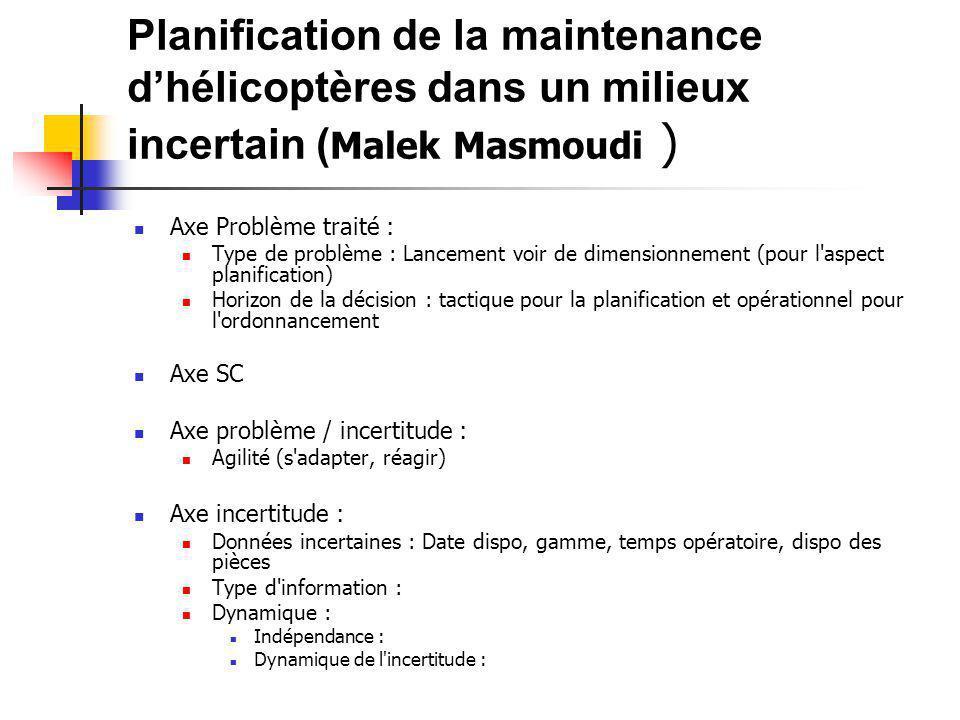 Planification de la maintenance d'hélicoptères dans un milieux incertain ( Malek Masmoudi ) Axe Problème traité : Type de problème : Lancement voir de