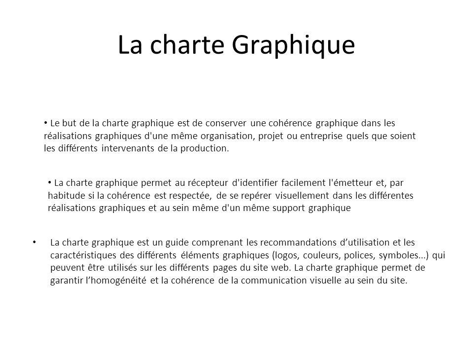 La charte Graphique La charte graphique est un guide comprenant les recommandations d'utilisation et les caractéristiques des différents éléments grap