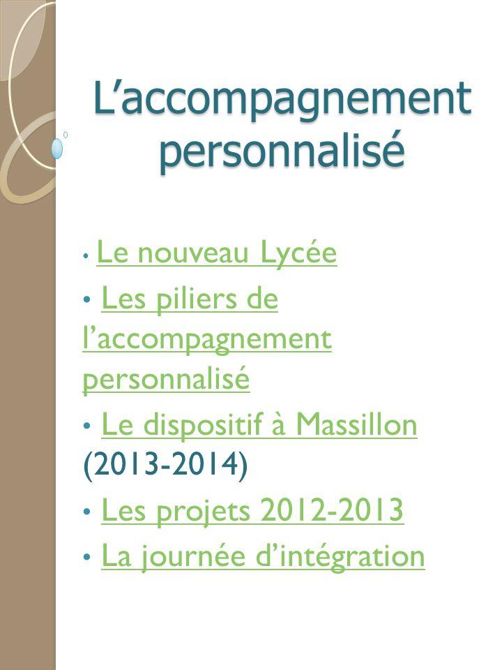 L'accompagnement personnalisé Le nouveau Lycée Les piliers de l'accompagnement personnaliséLes piliers de l'accompagnement personnalisé Le dispositif
