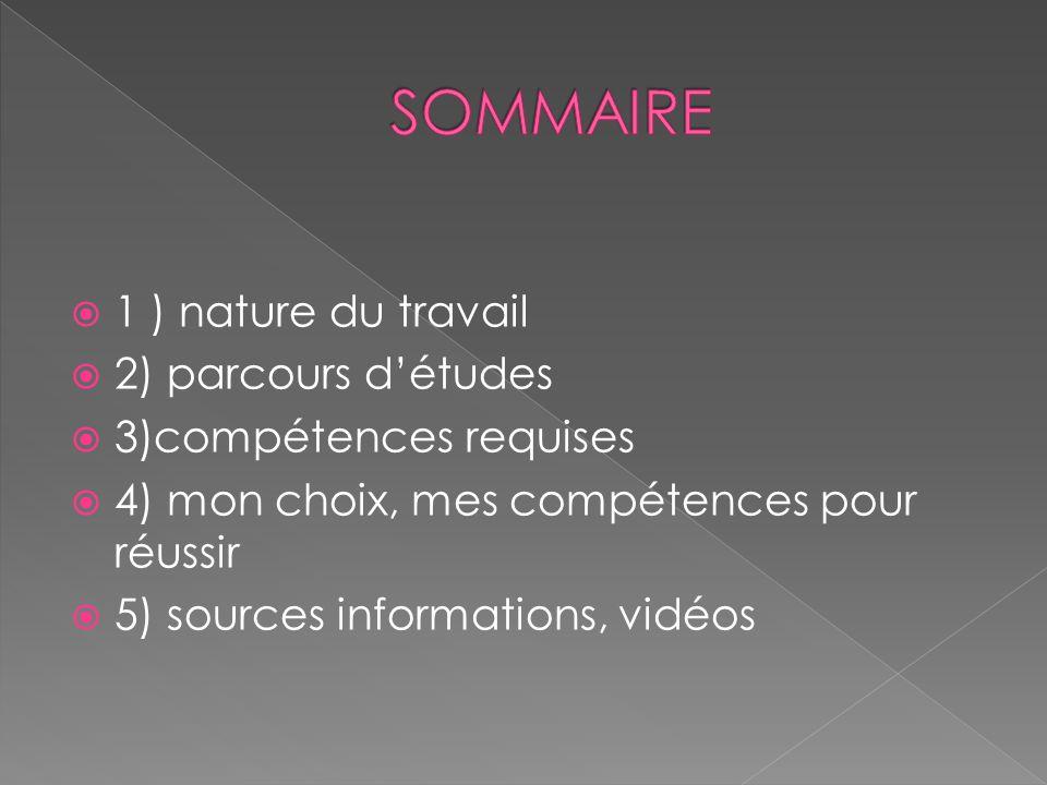  1 ) nature du travail  2) parcours d'études  3)compétences requises  4) mon choix, mes compétences pour réussir  5) sources informations, vidéos