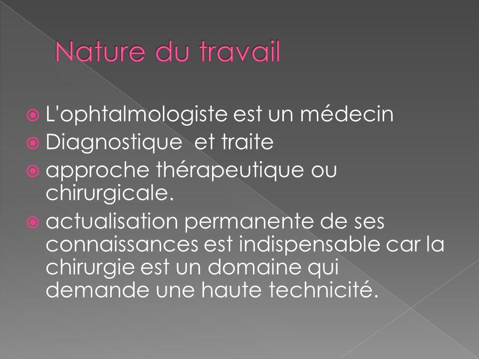  L ophtalmologiste est un médecin  Diagnostique et traite  approche thérapeutique ou chirurgicale.