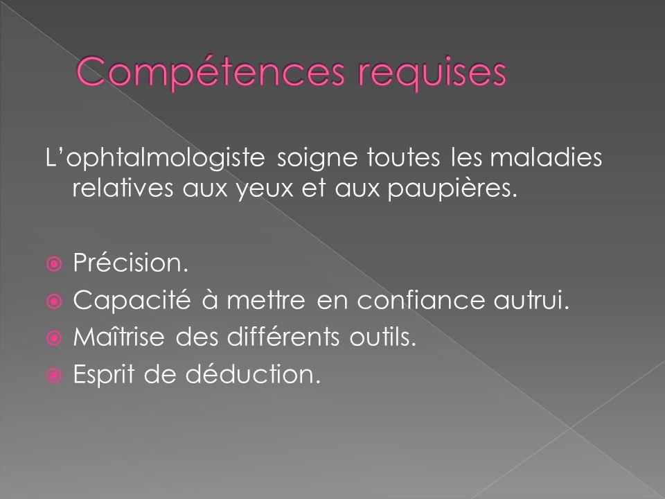 L'ophtalmologiste soigne toutes les maladies relatives aux yeux et aux paupières.