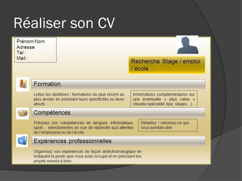 Réaliser son CV Recherche Stage / emploi / école … Prénom Nom Adresse Tél : Mail : Formation Compétences Expériences professionnelles Listez les diplô