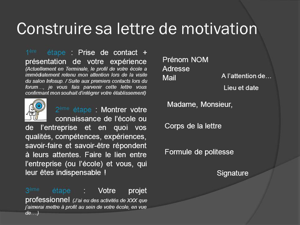 Construire sa lettre de motivation 1 ère étape : Prise de contact + présentation de votre expérience (Actuellement en Terminale, le profil de votre éc