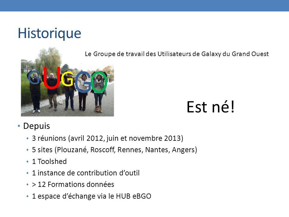 Historique Depuis 3 réunions (avril 2012, juin et novembre 2013) 5 sites (Plouzané, Roscoff, Rennes, Nantes, Angers) 1 Toolshed 1 instance de contribution d'outil > 12 Formations données 1 espace d'échange via le HUB eBGO Est né.