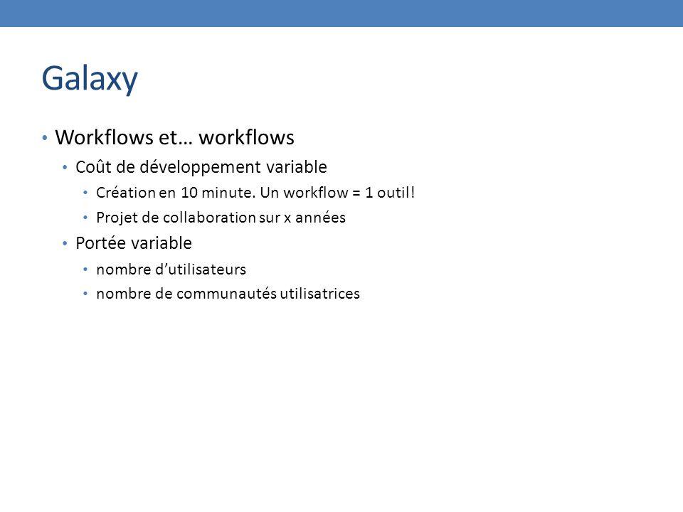 Galaxy Workflows et… workflows Coût de développement variable Création en 10 minute.