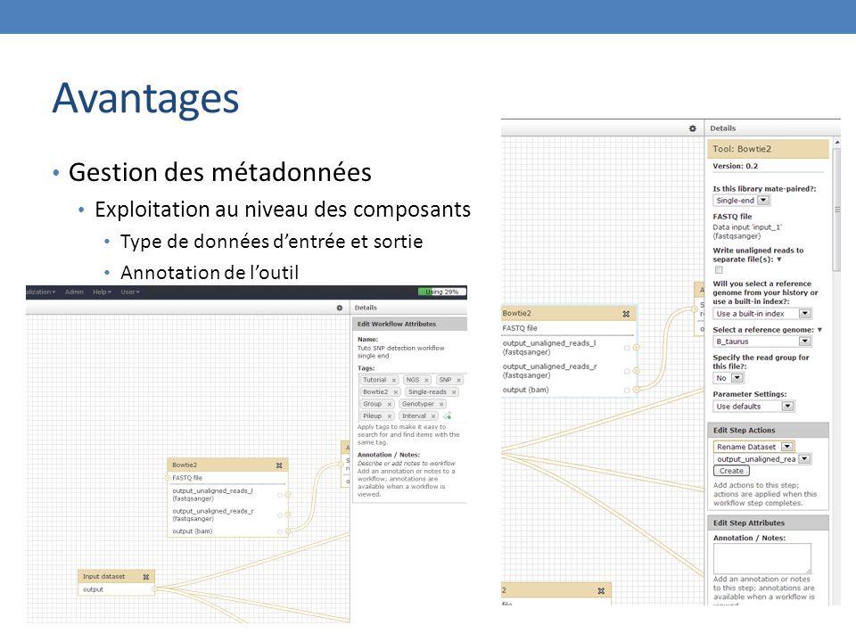 Avantages Gestion des métadonnées Exploitation au niveau des composants Type de données d'entrée et sortie Annotation de l'outil