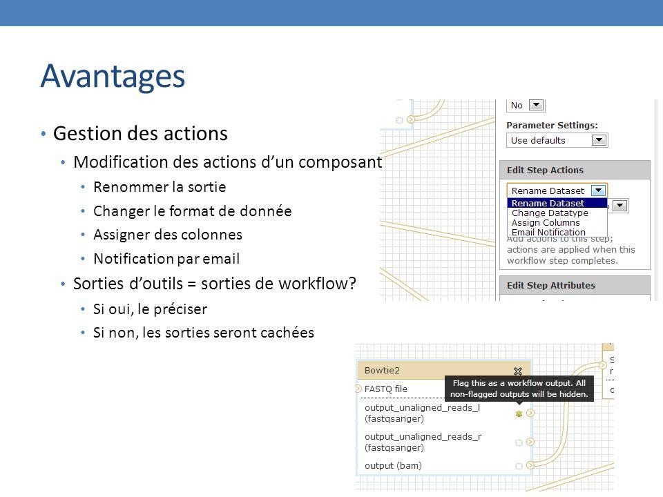 Avantages Gestion des actions Modification des actions d'un composant Renommer la sortie Changer le format de donnée Assigner des colonnes Notification par email Sorties d'outils = sorties de workflow.