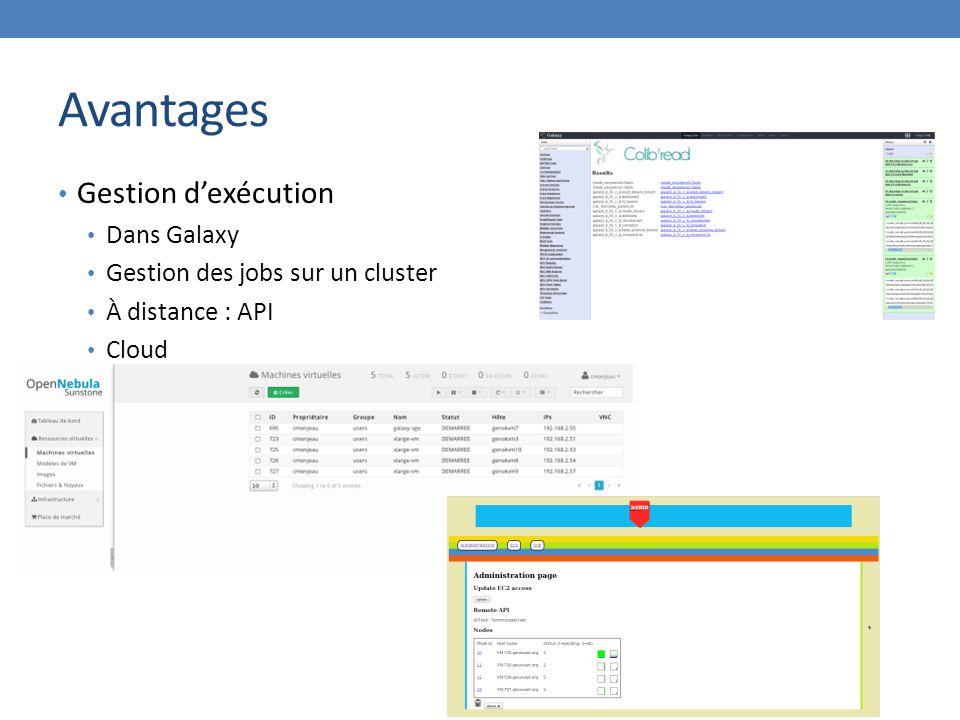 Avantages Gestion d'exécution Dans Galaxy Gestion des jobs sur un cluster À distance : API Cloud