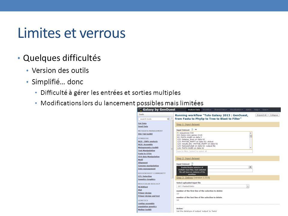 Limites et verrous Quelques difficultés Version des outils Simplifié… donc Difficulté à gérer les entrées et sorties multiples Modifications lors du lancement possibles mais limitées