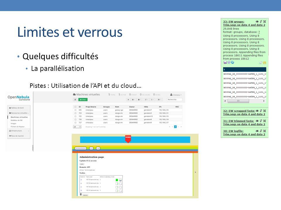 Limites et verrous Quelques difficultés La parallélisation Pistes : Utilisation de l'API et du cloud…