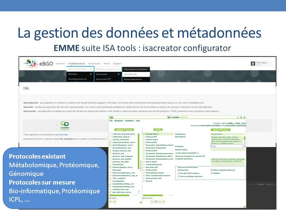 La gestion des données et métadonnées EMME suite ISA tools : isacreator configurator Protocoles existant Métabolomique, Protéomique, Génomique Protocoles sur mesure Bio-informatique, Protéomique ICPL, …