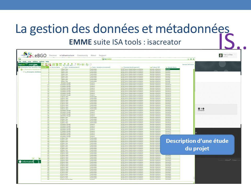 La gestion des données et métadonnées EMME suite ISA tools : isacreator Description d'une étude du projet IS..
