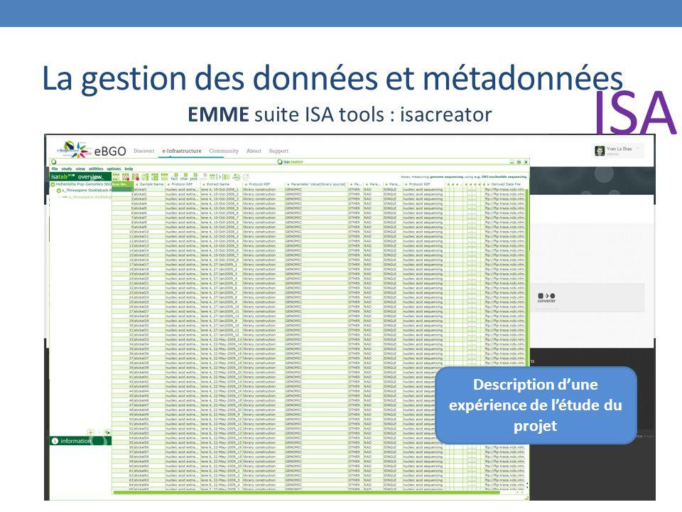 La gestion des données et métadonnées EMME suite ISA tools : isacreator Description d'une expérience de l'étude du projet ISA