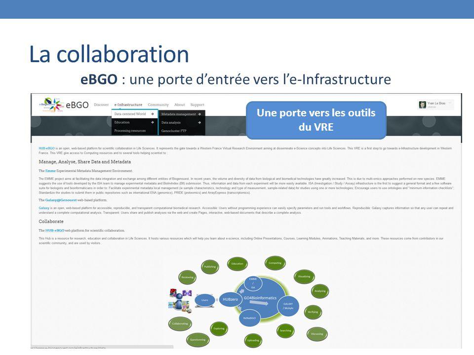 La collaboration eBGO : une porte d'entrée vers l'e-Infrastructure Une porte vers les outils du VRE