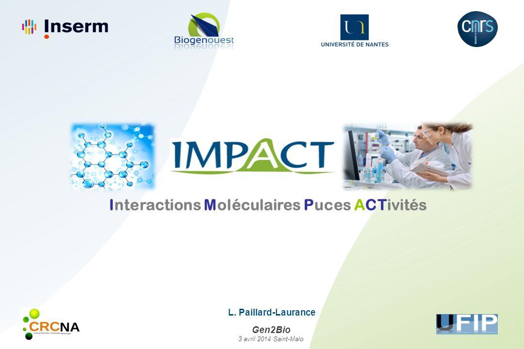 Interactions Moléculaires Puces ACTivités L. Paillard-Laurance Gen2Bio 3 avril 2014 Saint-Malo