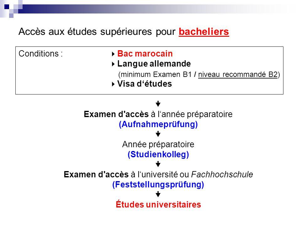 Conditions :  Bac marocain  Langue allemande (minimum Examen B1 / niveau recommandé B2)  Visa d'études  Examen d'accès à l'année préparatoire (Auf