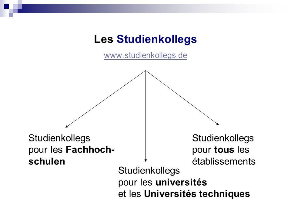 Les Studienkollegs www.studienkollegs.de Studienkollegs pour les Fachhoch- pour tous les schulen établissements Studienkollegs pour les universités et