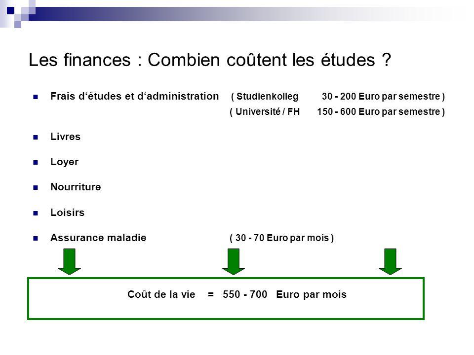 Les finances : Combien coûtent les études ? Frais d'études et d'administration ( Studienkolleg 30 - 200 Euro par semestre ) ( Université / FH 150 - 60