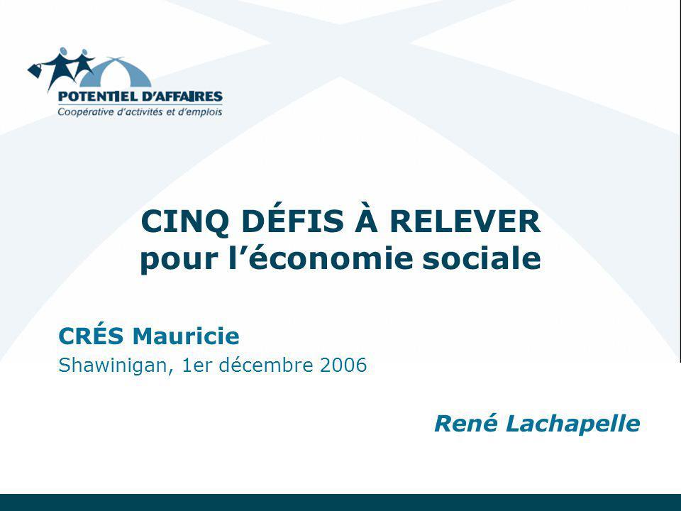 CINQ DÉFIS À RELEVER pour l'économie sociale CRÉS Mauricie Shawinigan, 1er décembre 2006 René Lachapelle