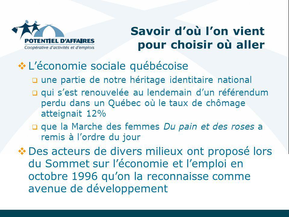 Savoir d'où l'on vient pour choisir où aller  L'économie sociale québécoise  une partie de notre héritage identitaire national  qui s'est renouvelée au lendemain d'un référendum perdu dans un Québec où le taux de chômage atteignait 12%  que la Marche des femmes Du pain et des roses a remis à l'ordre du jour  Des acteurs de divers milieux ont proposé lors du Sommet sur l'économie et l'emploi en octobre 1996 qu'on la reconnaisse comme avenue de développement