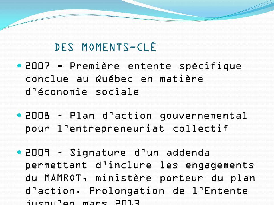 DES MOMENTS-CLÉ 2007 - Première entente spécifique conclue au Québec en matière d'économie sociale 2008 – Plan d'action gouvernemental pour l'entrepreneuriat collectif 2009 – Signature d'un addenda permettant d'inclure les engagements du MAMROT, ministère porteur du plan d'action.