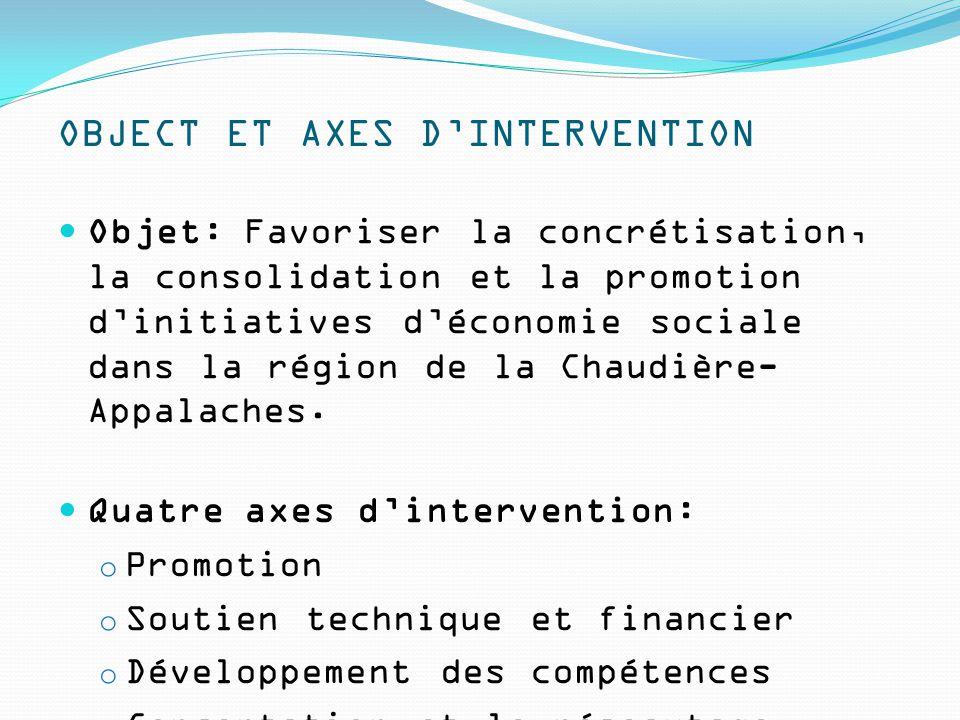 OBJECT ET AXES D'INTERVENTION Objet: Favoriser la concrétisation, la consolidation et la promotion d'initiatives d'économie sociale dans la région de la Chaudière- Appalaches.