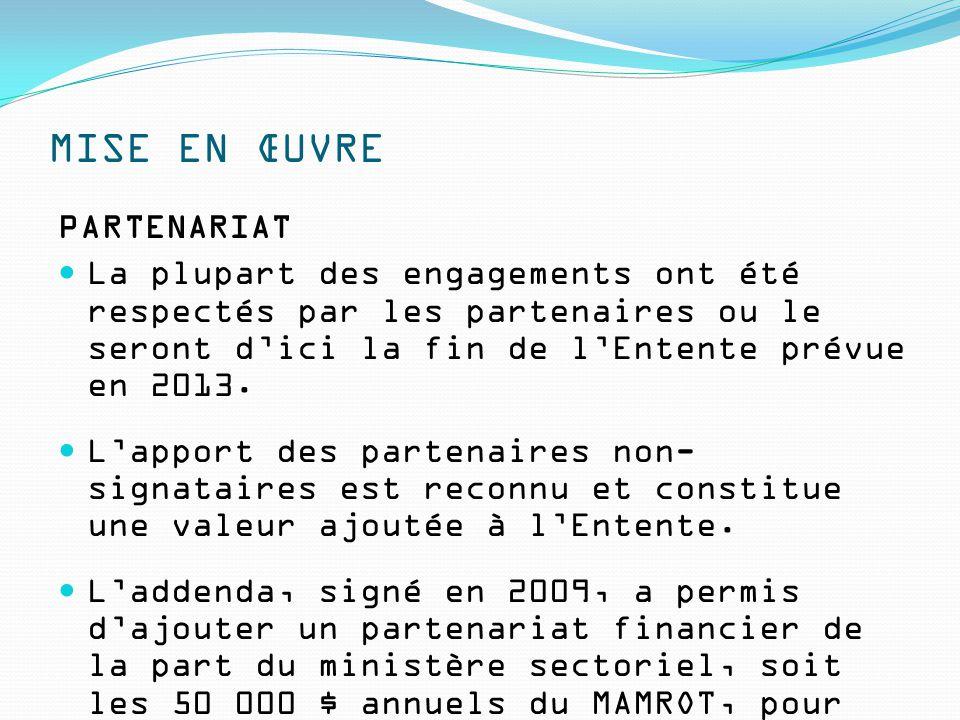 MISE EN ŒUVRE PARTENARIAT La plupart des engagements ont été respectés par les partenaires ou le seront d'ici la fin de l'Entente prévue en 2013. L'ap